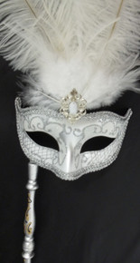 White Silver Venetian Stick Mask Removeable Masquerade Prom Mask