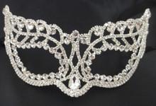 Full Rhinestone Masquerade Venetian Mask Large Pear Shape Crystal
