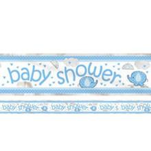 Umbrella Elephant Baby Shower Foil 12 ft Banner Boy Blue