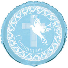 "Blue Dove Cross Foil Mylar Round Balloon Party ""Communion"""