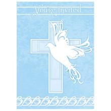 Blue Dove Cross 8 Invitations Baptism Christening Communion Party