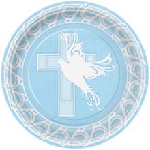 "Blue Dove Cross Baptism Christening Communion 8 9"" Lunch Plates"