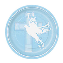 "Blue Dove Cross Baptism Christening Communion 8 ct 7"" Dessert Plates Party Supply"