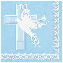 Blue Boy Dove Cross Baptism Communion 16 Lunch Napkins Party