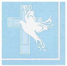 Blue Boy Dove Cross Baptism Christening Communion 16 Beverage Napkins