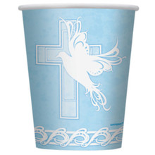 Blue Dove Cross Baptism Christening Communion 8 9 oz Paper Cups Party