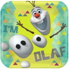 "Disney Olaf 9"" Square Paper 8 Lunch Dinner Plates Party Frozen"