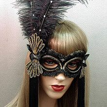 """Broadway"" Black Gold Feather Crystal Masquerade Ball Mask"