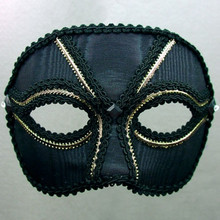 """Broadway Men"" Black Gold Crystal Masquerade Prom Ball Mask"