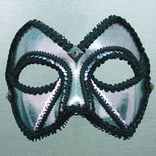 """Midnight Men"" Pewter Silver Black Sequin Masquerade Ball Mask"