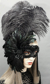 """Mystery"" Black Velvet Veiled with Iridescent Feathers Crystal Masquerade Prom Ball Mask"