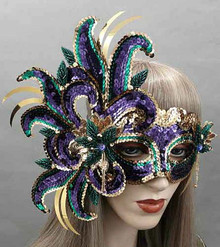 Mardi Gras Sequin Amethyst Crystals Beaded Purple Gold Green Masquerade Prom Ball Mask