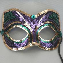 Mardi Gras Sequin Men Purple Green Gold Crystal Masquerade Prom Ball Mask