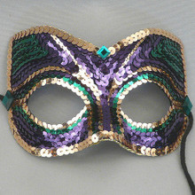 Mardi Gras Sequin Men Purple Green Gold Crystal Masquerade Ball Mask