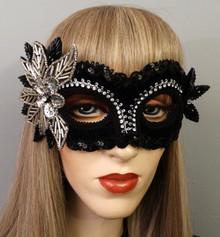 """Aria"" Black Velvet Crystal Swarovski Crystal Silver Masquerade Prom Ball Mask"
