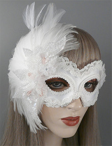 """Blush"" White Satin Pearl Sequin Feathers Crystals Pink Beads Masquerade Wedding Mask"