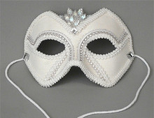 """Groom"" White Satin Men Beaded Crystal Masquerade Wedding Mask"