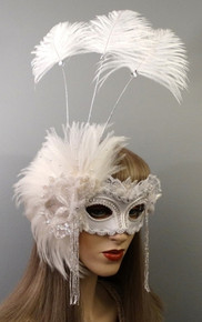 """""""Elle"""" White Satin Silver and Pearl Swarovski Crystals Lace Feathers Masquerade Prom Ball Wedding Mask"""