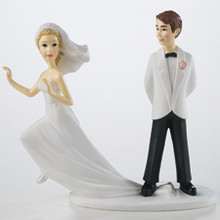 Runaway Bride Wedding Groom Cake Topper Humorous Wilton