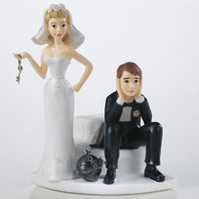 Ball and Chain Humorous Wedding Groom Cake Topper Wilton