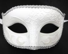 White Venetian Men Elegant Masquerade Halloween New Years Mardi Gras Prom Mask