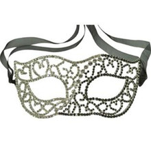 Black and Clear Crystal Rhinestone Masquerade Mask New Years Prom