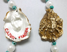 Cajun Viagra Oyster Half Shell White Pearl Necklace Mardi Gras Beads