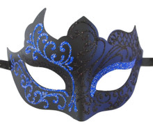 Black Navy Blue Unique Venetian Masquerade Mardi Gras Halloween Prom Mask