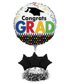 Centerpiece Balloon Kit Multi Color Grad Graduation Balloons 24 x 18 No Helium Needed!