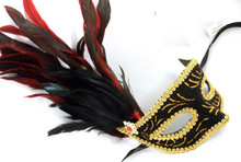 Black Velvet Red Ruby Gold Venetian Feather Mask