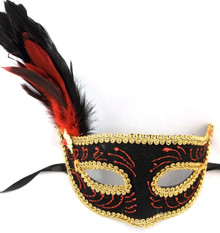 Black Velvet Red Ruby Venetian Feather Mask