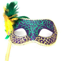 Purple, Green, Gold Venetian Feather Stick Mask Masquerade Prom Mask