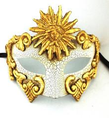 Gold White Greek Sun God Masquerade Mardi Gras Men's Mask