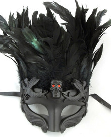 Black Skull Red Eyes Feather Masquerade Mardi Gras Men's Mask