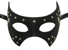 Black Leather Metal Stud Fleur De Lis Masquerade Halloween Prom Mask