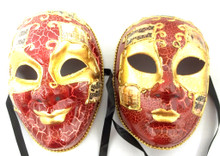 Red Gold Full Face Joker and Lady Venetian Masks Masquerade Set