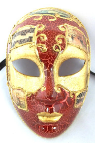 Red Gold Full Face Lady Venetian Mask Masquerade Mardi Gras Halloween
