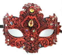 Dark Red Jewel Macrame Brocade Lace Crystal Venetian Masquerade Mardi Gras Mask