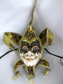 Jester Black Gold Decorate Wear Mardi Gras Masquerade Mask Wall Hanging
