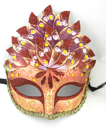 Dark Red Leaf Cascade Mask Masquerade Prom Halloween