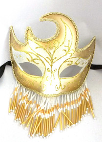 White Gold Beaded Veil Masquerade Mardi Gras Prom New Years Ball Mask