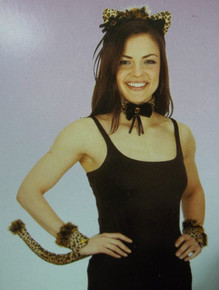 Sexy Leopard Woman Ears Tail Collar Cuffs Set Costume Instant Kit