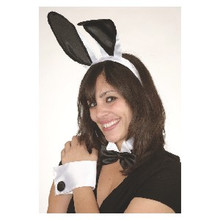 Sexy 5 Pc Deluxe Play Boy Naughty Bunny Costume Set Black White Ears Cuffs Tail
