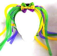 Mardi Gras Light Up Headband Purple Green Yellow Noodle Tubes Bowtie Diva Dreads
