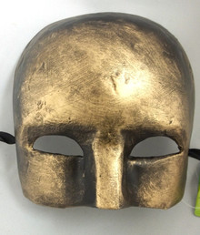Gold Brushed Paper Mache Ancient Warrior Mardi Gras Mask Masquerade
