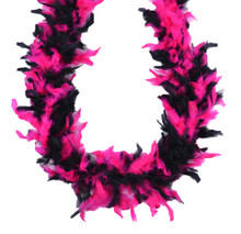 Chandelle Feather Boa Hot Pink and Black Mix 45 gm 72 in 6 Ft