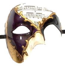 Men's Phantom Music Purple Gold Large Mardi Gras Masquerade Elegance Mask
