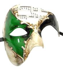 Men's Phantom Music Green Silver Large Mardi Gras Masquerade Elegance Mask
