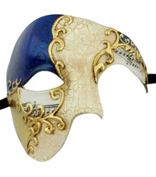 Men's Phantom Music Blue Gold Large Mardi Gras Masquerade Elegance Mask