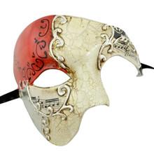 Men's Phantom Music Red Silver Large Mardi Gras Masquerade Elegance Mask